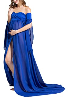 Molliya Maternity Photography Dress Off Shoulder Long Sleeve Chiffon Gown Split Front Maxi Dress for Photo
