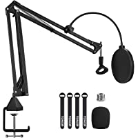 "Microphone Arm Stand, TONOR Adjustable Suspension Boom Scissor Mic Stand with Pop Filter, 3/8"" to 5/8"" Adapter, Mic Clip…"