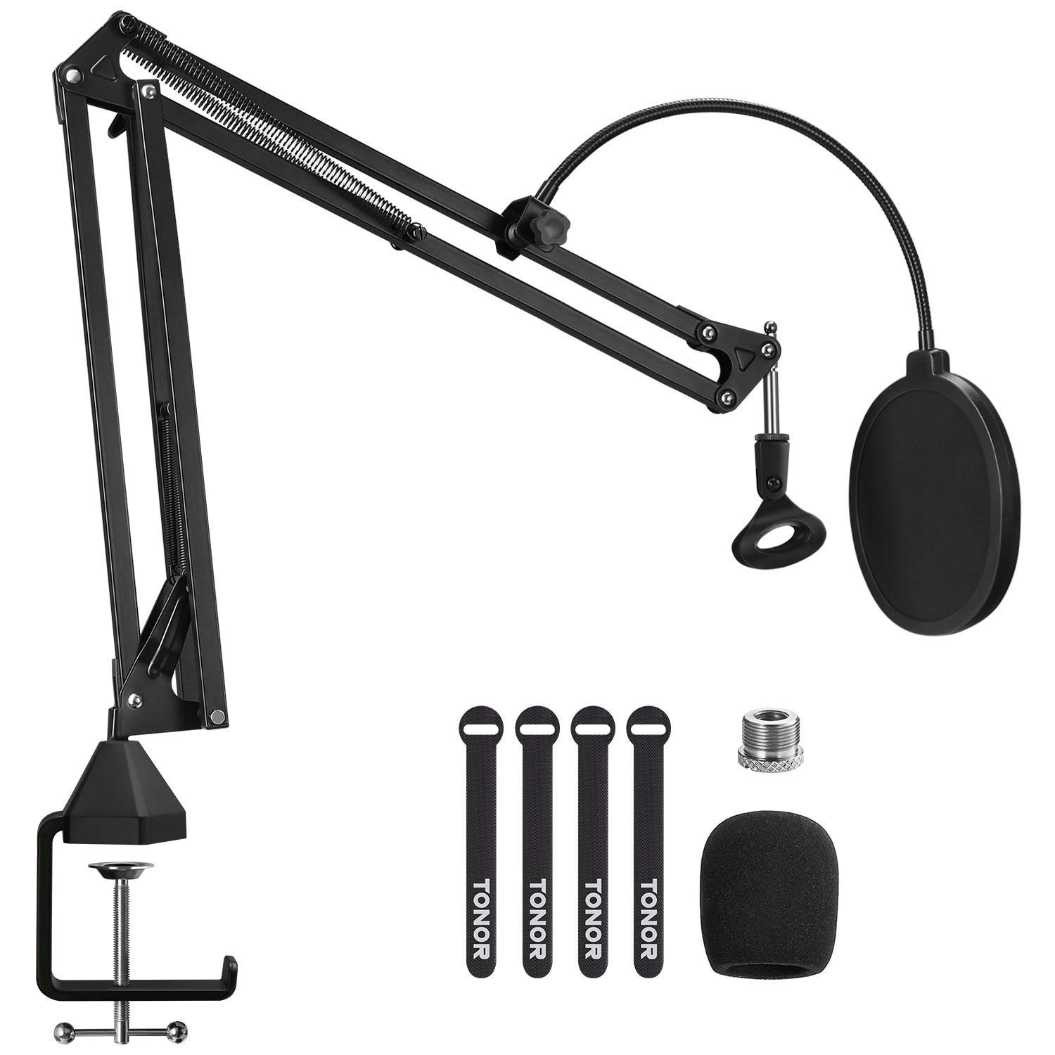"""Microphone Arm Stand, TONOR Adjustable Suspension Boom Scissor Mic Stand with Pop Filter, 3/8"""" to 5/8"""" Adapter, Mic Clip, Upgraded Heavy Duty Clamp for Blue Yeti Nano Snowball Ice and Other Mics(T20)"""