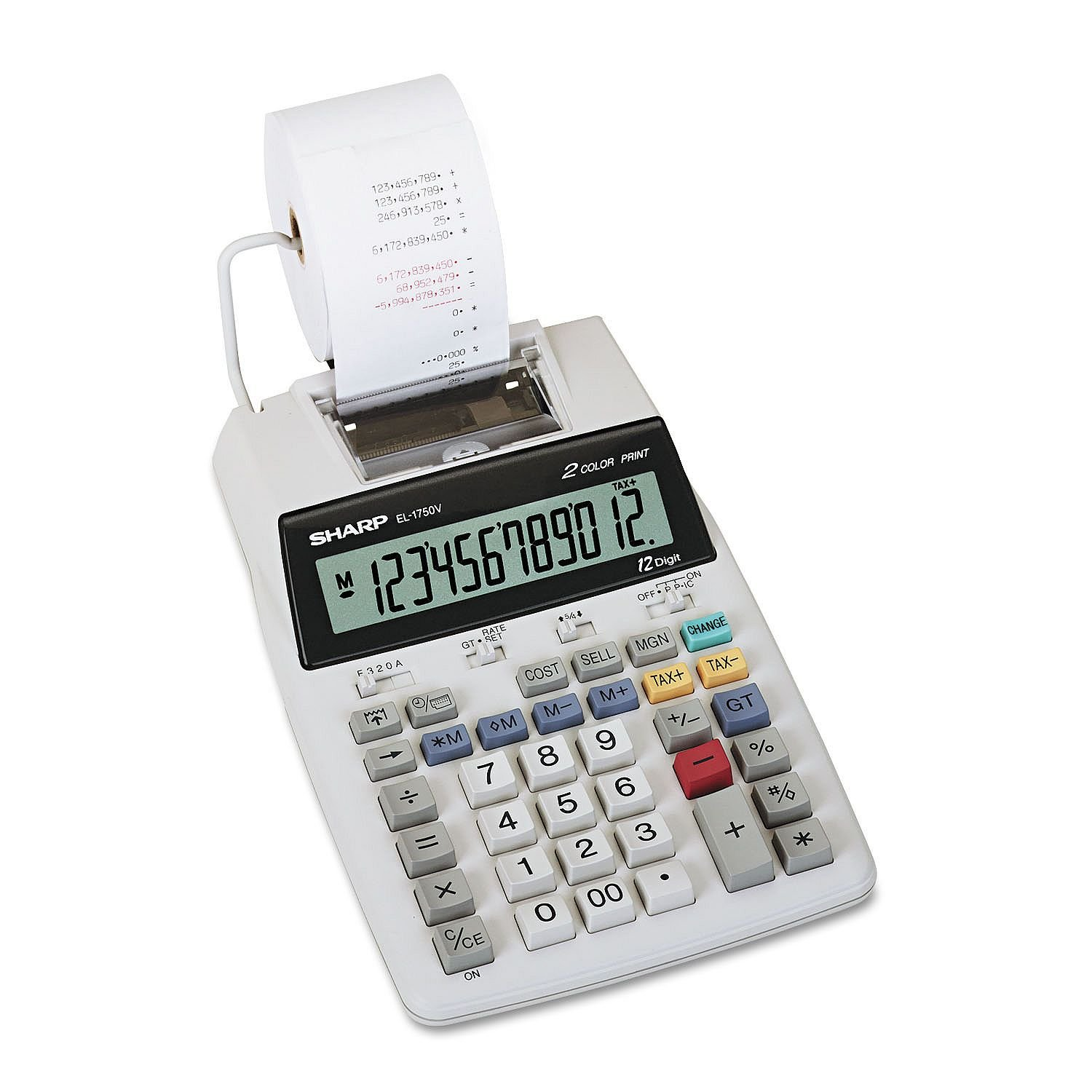 EL-1750V Two-Color Printing Calculator, Black/Red Print, 2 Lines/Sec, Sold as 2 Each Sharp SHREL1750V
