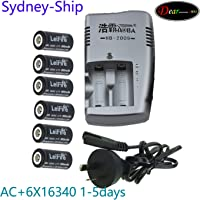KEENKI Dual Charger+6X 16340 Battery Top Button New 3.70V Li-ion CR123 CR123A RCR123A Rechargeable for LED Flash Light Torch 650mah Normally 1-6 Business Days (Express Shipping) Ship by Sydney