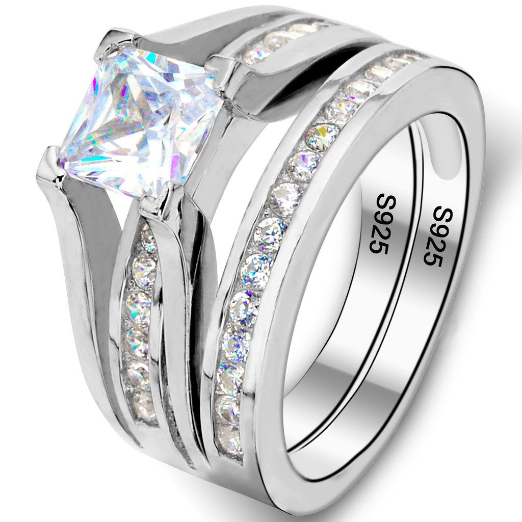 Ever Faith 925 Sterling Silver CZ Princess-Cut Solitaire Engagement Ring Set Clear