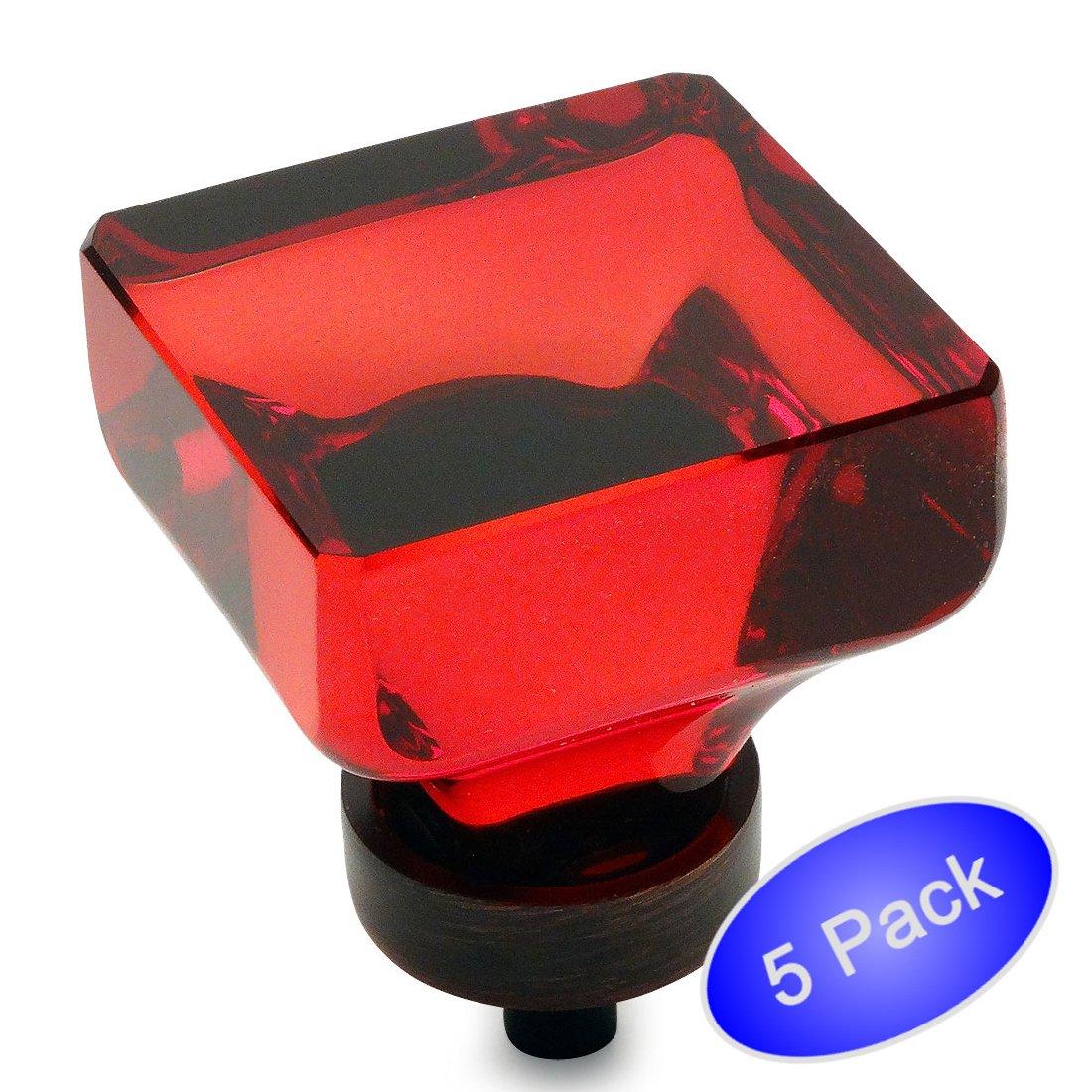 Cosmas 6377orb-rオイルはブロンズキャビネットハードウェアSquareノブwithレッドガラス – 1 – 3 / 8