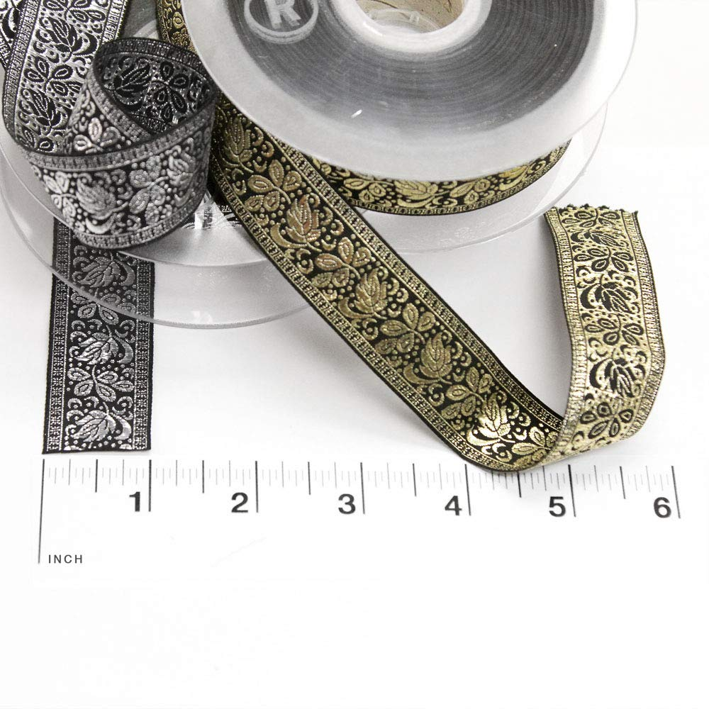 22 Yard Roll of ORIA Black and Silver Metallic Lamé Floral Jacquard Ribbon, 25mm, Made in Italy by Bias Bespoke (Image #3)
