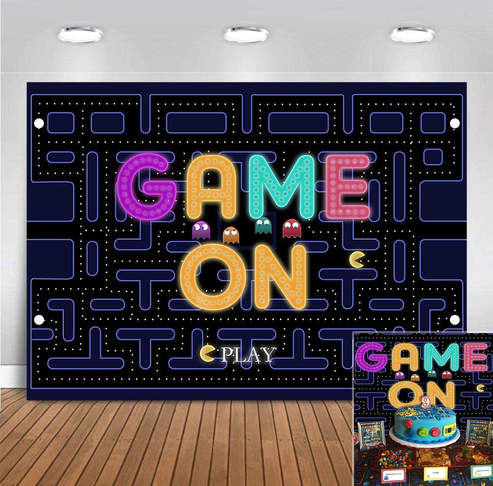 Cute Pac-Man Photography Backdrop Baby Shower Supplies Game on Play Photo Background Boys Kids Happy 3rd Birthday Party Decorations 5x3ft Cake Table Photo Booths Props Banner Room Decor