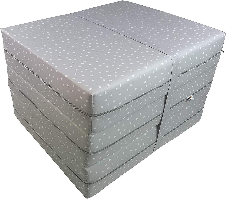 Joyfill deluxe folding mattress, 180cm x 70cm x 15cm, made in Germany 5018p Grey Dots