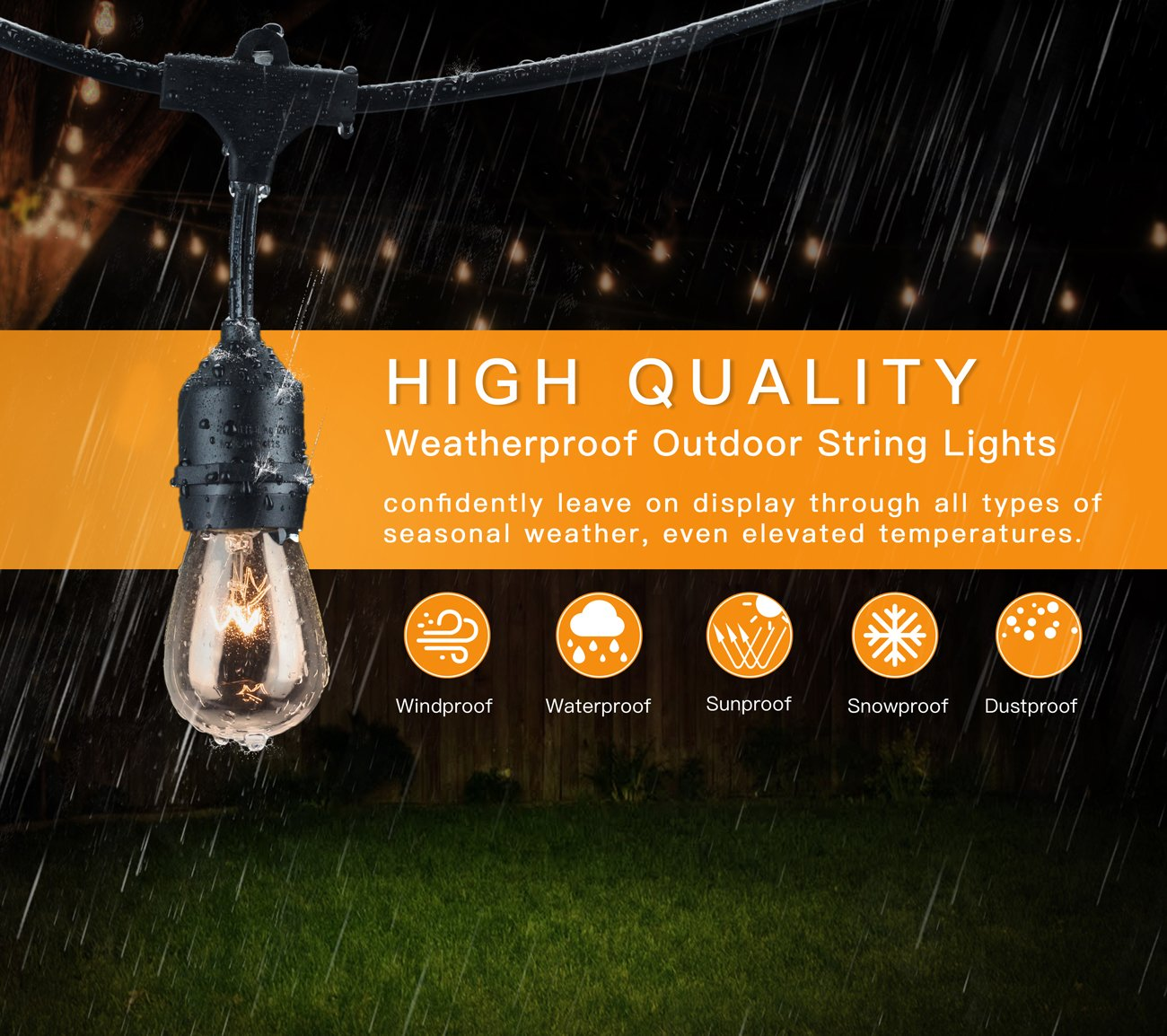 2-Pack 48Ft Heavy Duty Outdoor Patio String lights, Edison Vintage Dimmable 11S14 Bulbs w/ Hanging Sockets, Commercial Grade Weatherproof Market Cafe Lights for Bistro Backyard Pergola Party, Blk by SHINE HAI (Image #3)