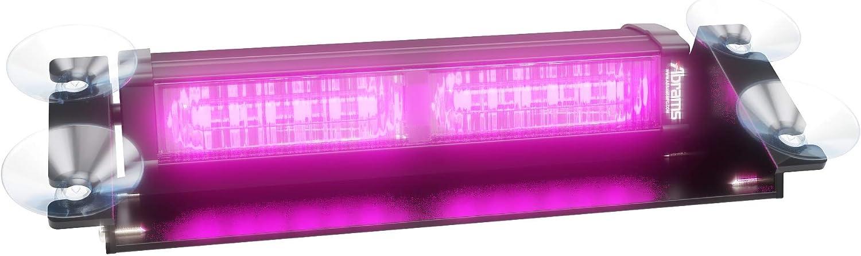 Abrams Focus 2X Series (Purple/Purple) 36W - 12 LED Funeral Vehicle Truck Windshield Strobe Warning Dash & Deck Light Bar