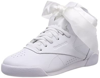 b9c83db8fab Reebok Girls  Freestyle Hi Satin Bow Top Trainers