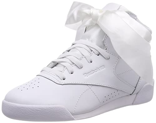 Reebok Freestyle Hi Satin Bow, Zapatillas de Gimnasia para Niñas, Blanco Whiteskull Grey, 34 EU: Amazon.es: Zapatos y complementos