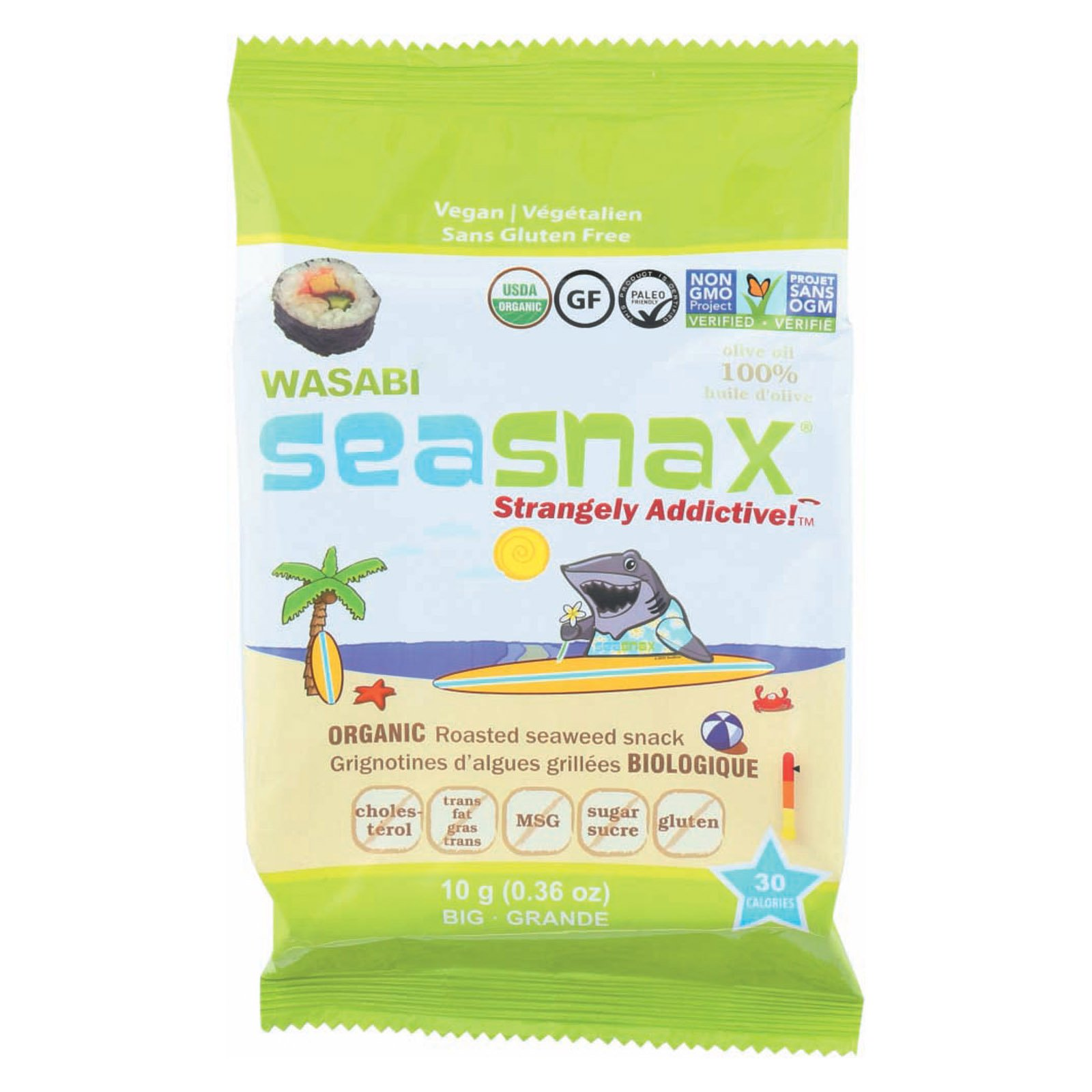 Seasnax, Seaweed Snack Big Grab Wasabi Organic, 0.36 Ounce