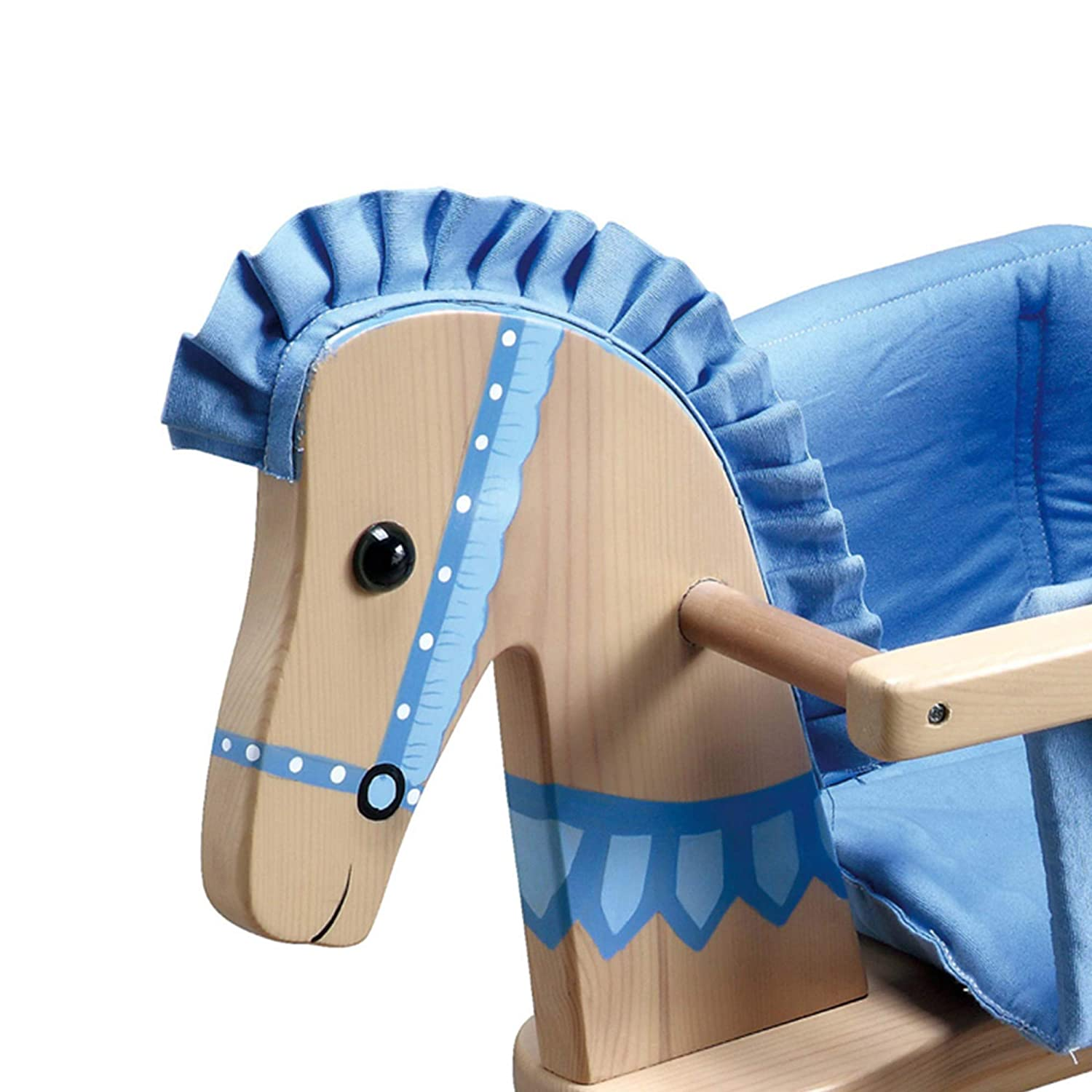 Natural//Blue Teamson Kids Safari Wooden Rocking Horse with Removeable Safety Surrond Pad for Toddlers