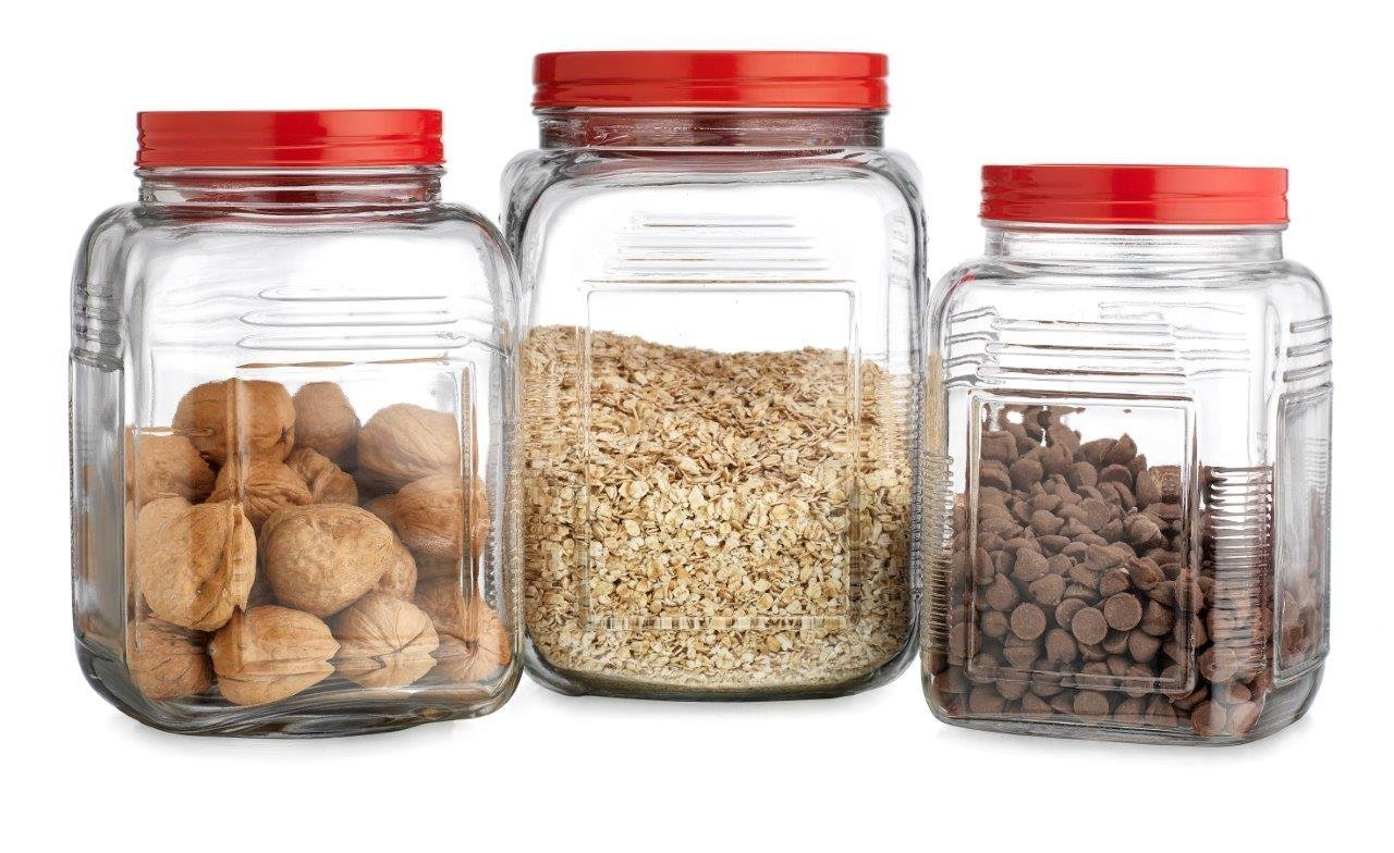 HC Homephile glass Canister/Jar with Red Screw Lidx2022; Use As Storage - Flour - Sugar - Cookies Canisterx2022; Wide Mouth/Square Shape/Set of 3 3659