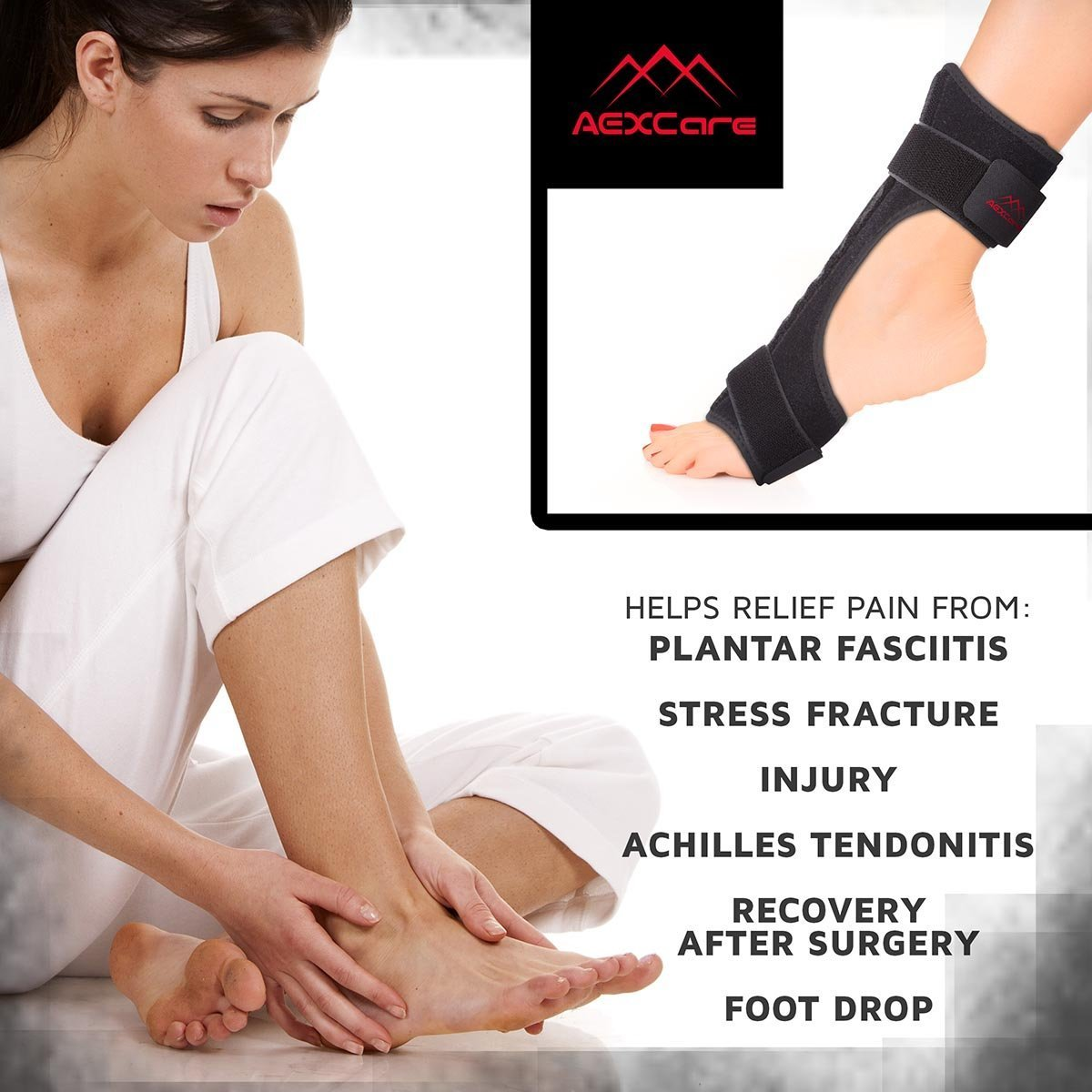 Plantar Fasciitis Foot Brace Night & Day Splint, Injury Support for Heel Pain Relief, Adjustable by AEXCare by AEXCare (Image #2)