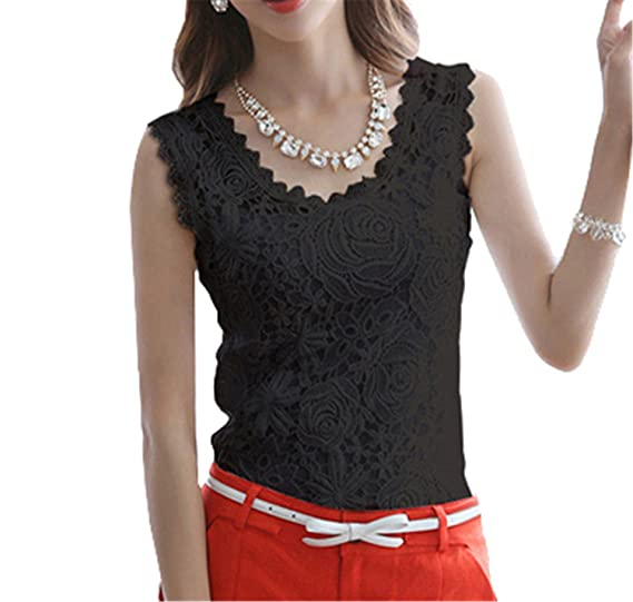 Tinzonc Fashion Women White Lace Blouse O-Neck Sleeveless Shirts Blusas Elegant Blouse Shirt Women