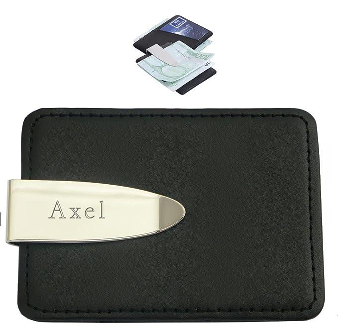 Grabado personalizado clip de dinero y tarjetas de crédito con texto: Axel (nombre de pila/apellido/apodo): Amazon.es: Hogar