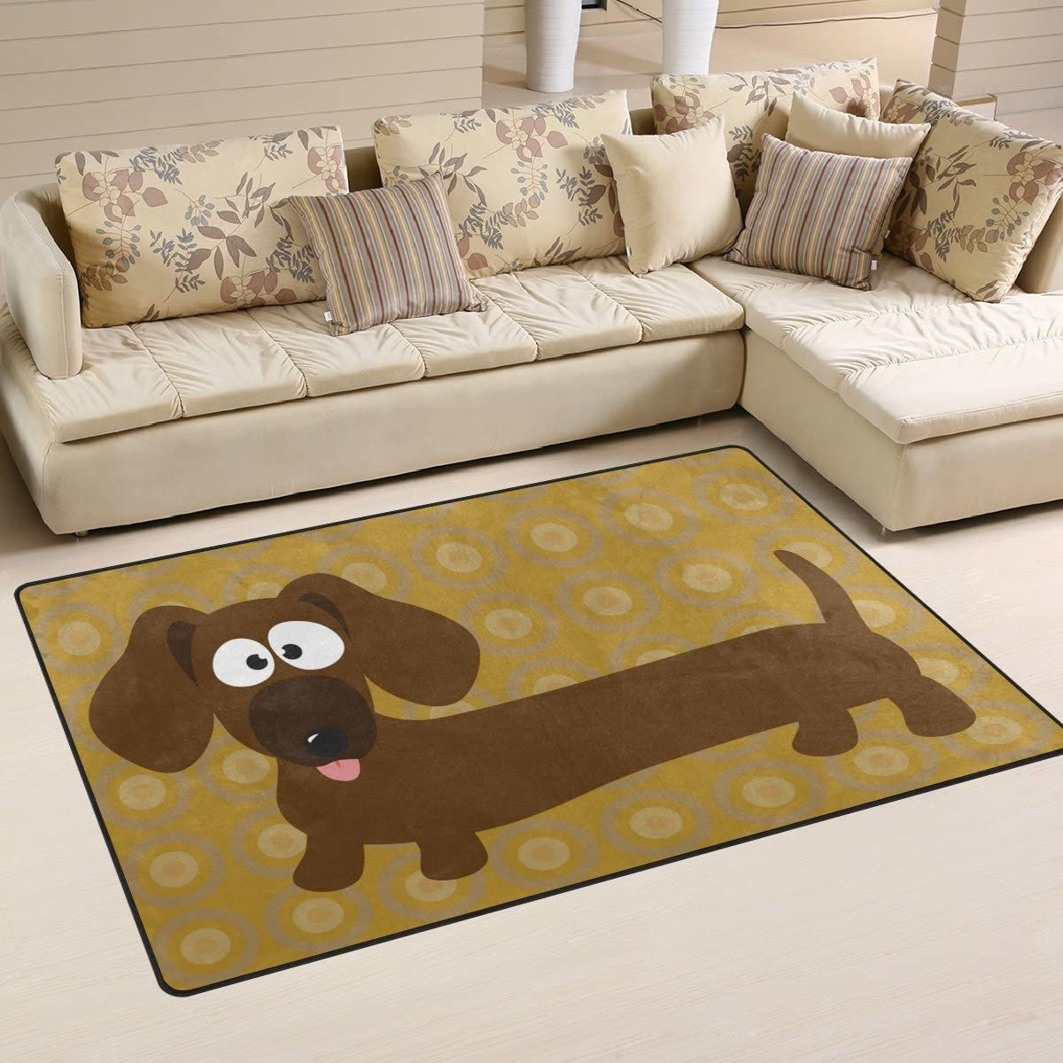 DEYYA Dachshund Hot Dog Memory Foam Area Rug,Modern Floor Rug Carpet