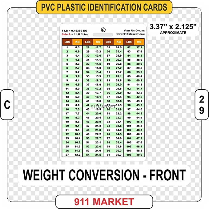 Amazon Com Weight Conversion Pvc Plastic Card Id Tag Lbs To Kg Pounds Kilograms C 29 Clothing