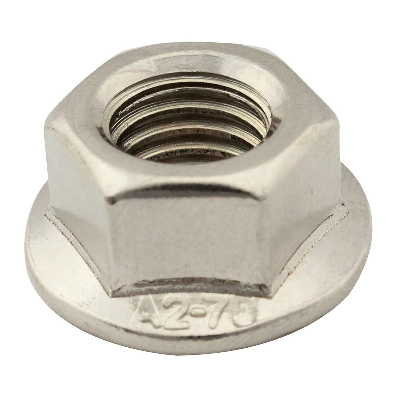 SC-Normteile | 100 Stü ck Flanschmuttern mit Sperrverzahnung | M4 | Bundmuttern | DIN 6923 / ISO 4161 | rostfreier Edelstahl A2 (V2A) | SC6923
