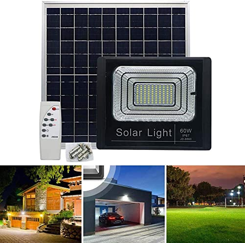 Solar Powered Street Flood Light, 3500 Lumens Outdoor LED Flood Lamp Garden Spotlights with Remote Control Security Lighting for Yard Garden Gutter Pathway Basketball Court Arena 60W, 3 Modes White