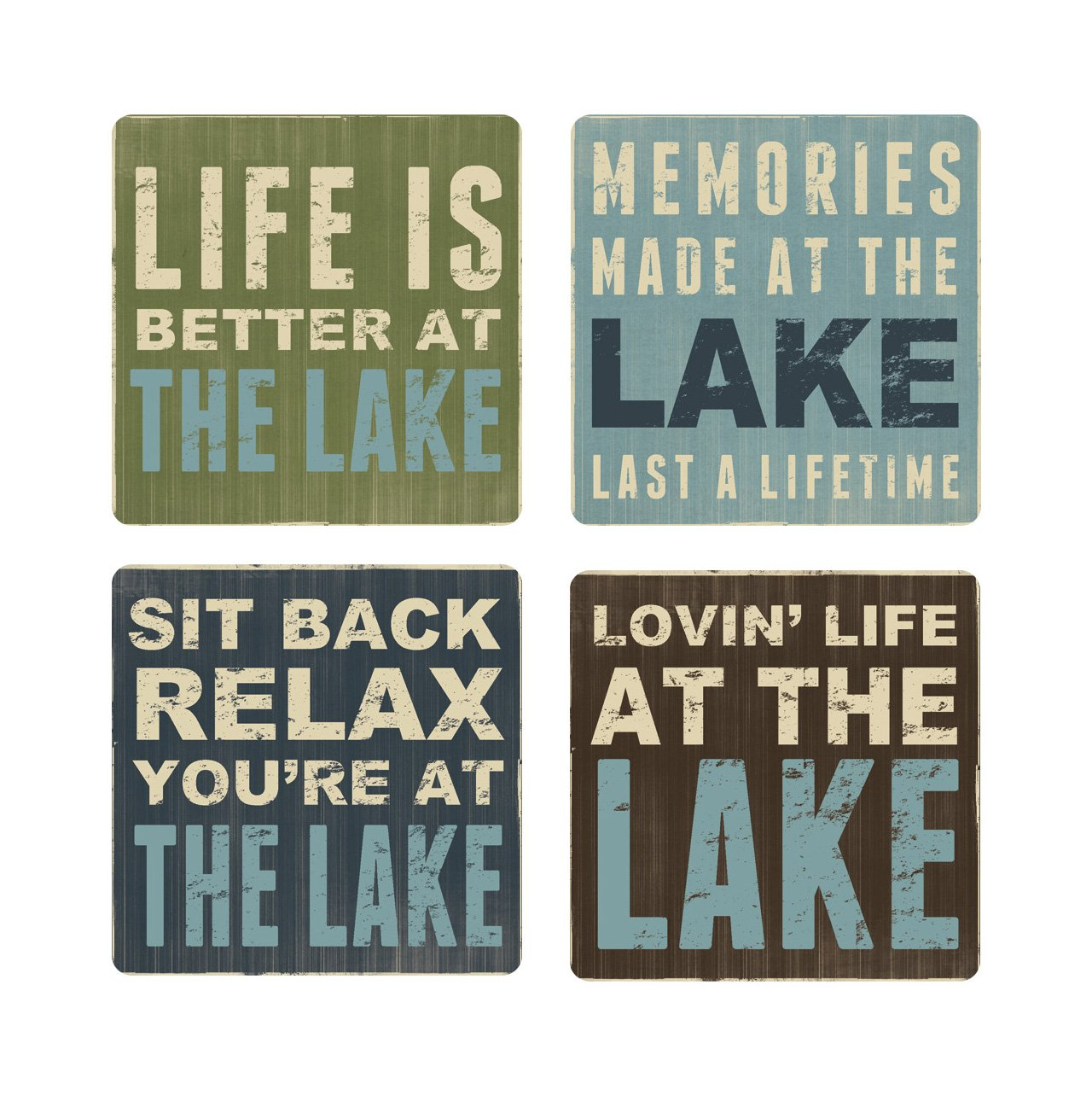 Primitives By Kathy 30440 Absorbent Stone Coaster Set Wine