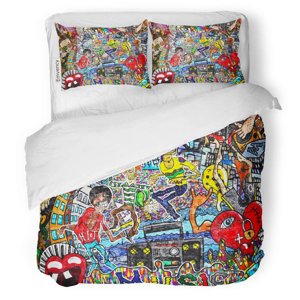 SanChic Duvet Cover Set Urban Music Collage on Large Brick Wall Graffiti Decorative Bedding Set with Pillow Sham Twin Size
