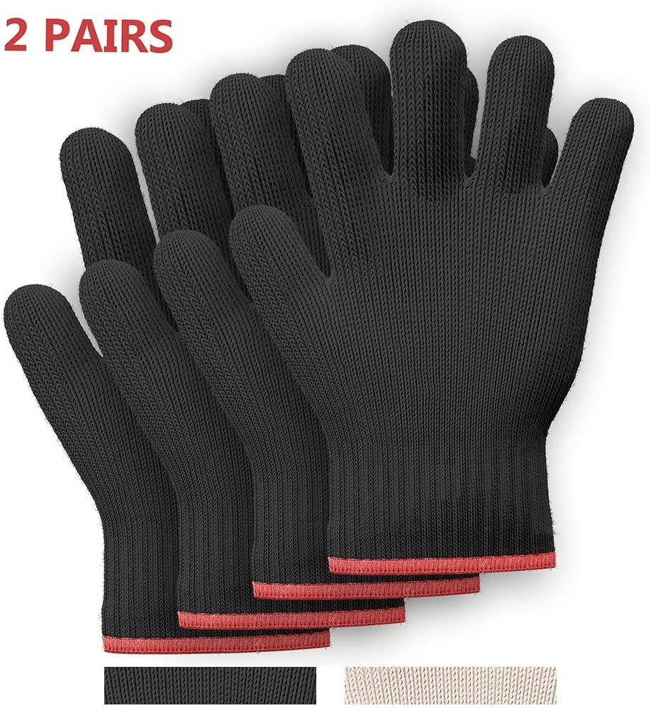 Killer's Instinct Outdoors 2 Pairs Heat Resistant Gloves Oven Gloves Heat Resistant with Fingers Oven Mitts Kitchen Pot Holders Cotton Gloves Kitchen Gloves Double Oven Mitt Set (Black, 4 pcs)