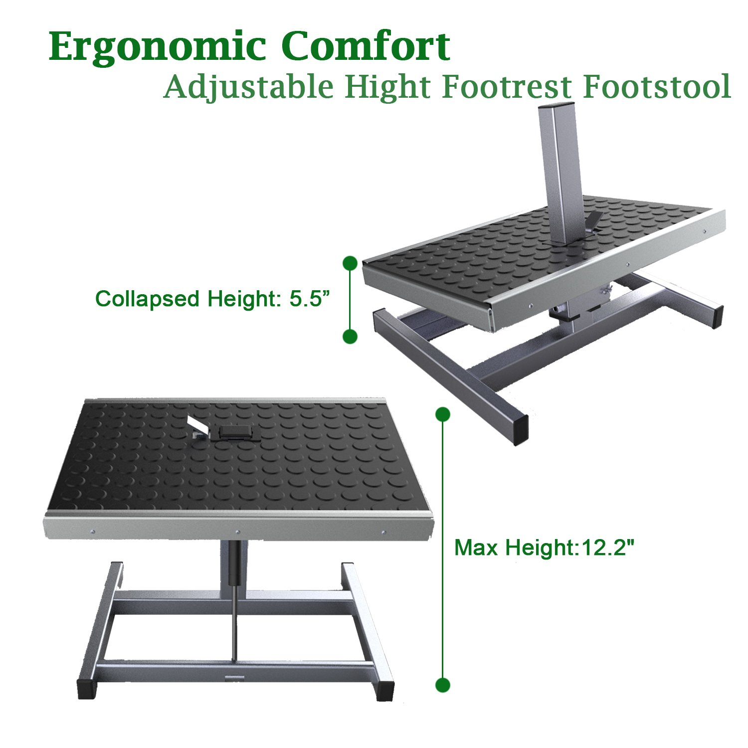Annstory Auto Adjustable Footrest,Ergonomic Comfortable Height-Adjustable Footstool for Home and Office (Heavy Frame) by Annstory (Image #3)