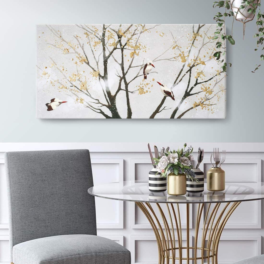 birds on a tree art abstract decor bedroom decor early spring art living room decor kitchen wall art prints. Gray abstract painting