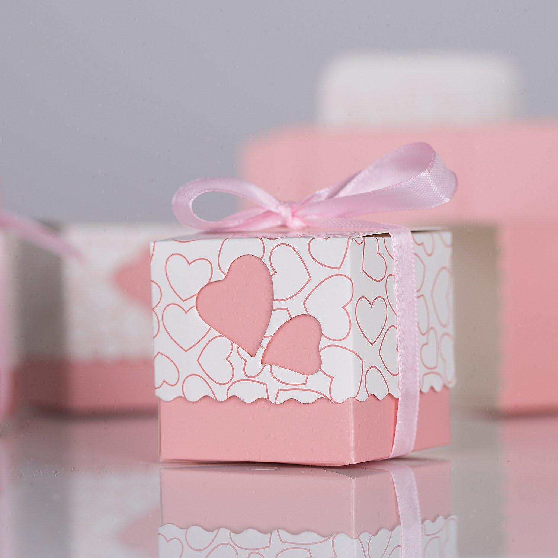 Rose Meersee Scatole Portaconfetti 100 pz Scatole Portaconfetti di Carta Bomboniere Regalo Segnaposti Decorazioni per Festa Matrimonio Battesimo Compleanno