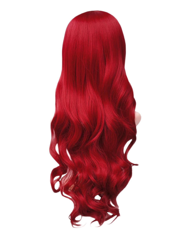 Women's Long Big Wavy Hair Wig, 25'' Dark Wine Red Ultra Soft Wigs