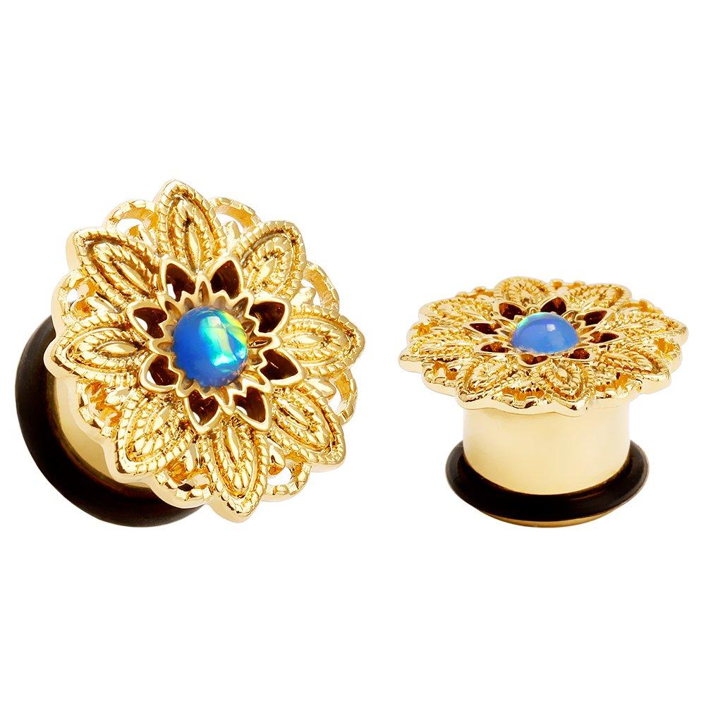 KUBOOZ Popular Flower Heart of Opal Ear Plugs Tunnels Gauges Stretcher Piercings Jewelry LA119