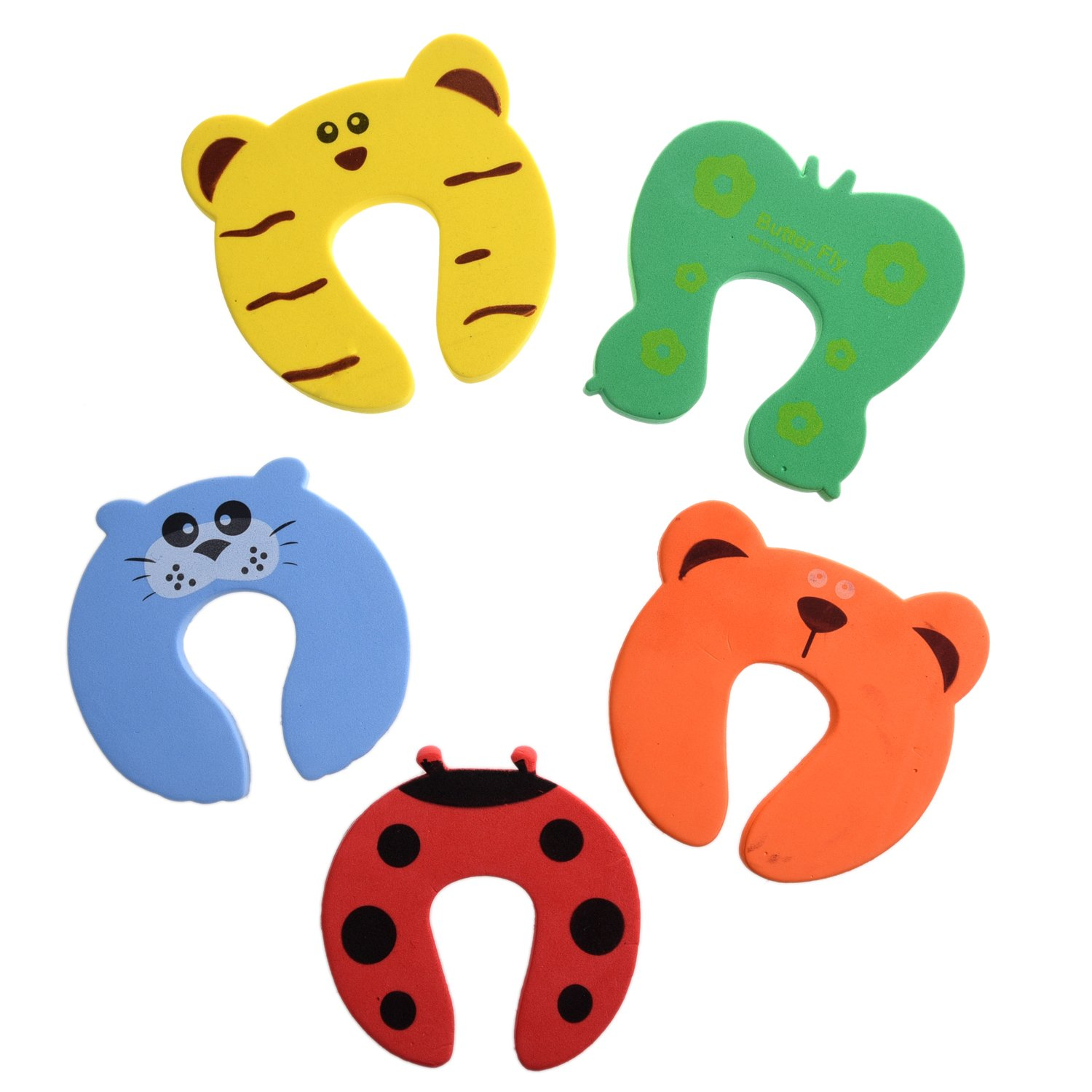 SODIAL(R) 5x Baby Kids Door Jammer Finger Pinch Guard Child Toddler Infant Safety Protector Stopper Cute Animal Designs
