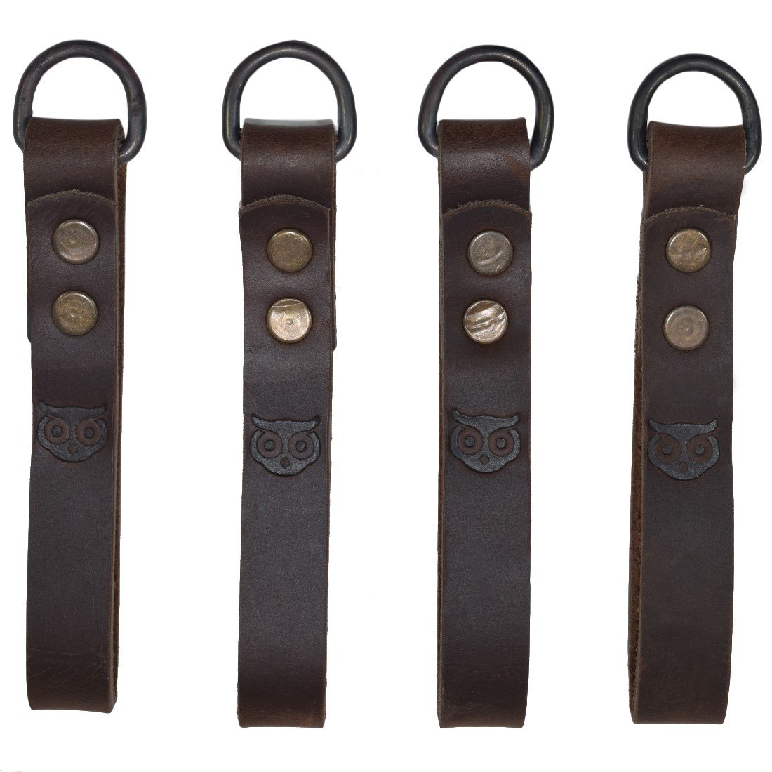 Thick Leather Heavy Duty Tool Belt Accessories Suspender Loop Attachment (4-Pack) Handmade by Hide & Drink :: Bourbon Brown