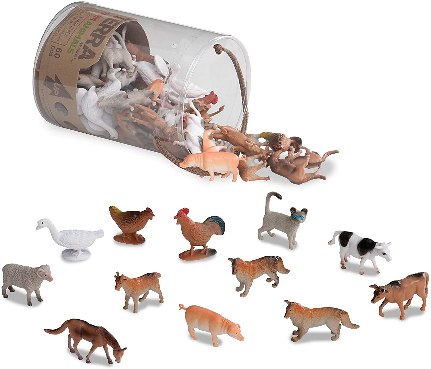 Battat Terra Farm Animals In Tube Action Figure Set Toysmith 68808
