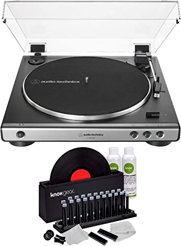 Audio-Technica AT-LP60X USB Turntable Gunmetal Bundle with Knox Gear Vinyl Record Cleaner Kit