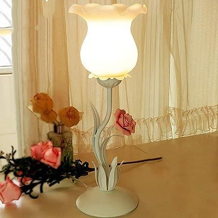 JU Jardin Lampe de Table Fer Rose Fleur Chambre des Enfants