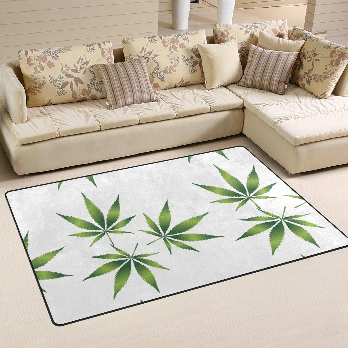 Bennigiry Cannabis Leaf Pattern Area Rug Carpet Non-Slip Floor Mat Doormats for Living Room Bedroom 152.4 x 99 cm, 60 x 39 inch