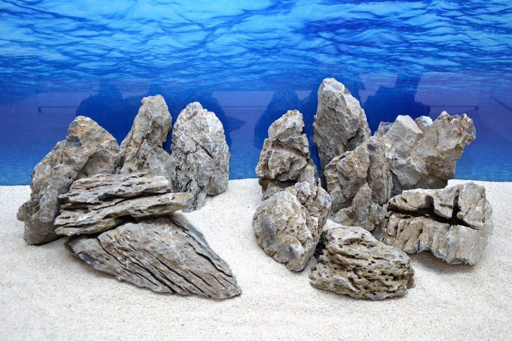 Decorative Aquarium Natural Stones in Grey Approx. 13 Pieces No 68 20 kg