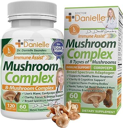 Best Organic Mushroom Complex - Immune Assist Support - Lion's Mane, Cordyceps and Reishi - Adaptogen Supplement - Wellness, Stress Relief, Memory & Cognitive Support, Dr. Danielle - 120 Veggie Caps