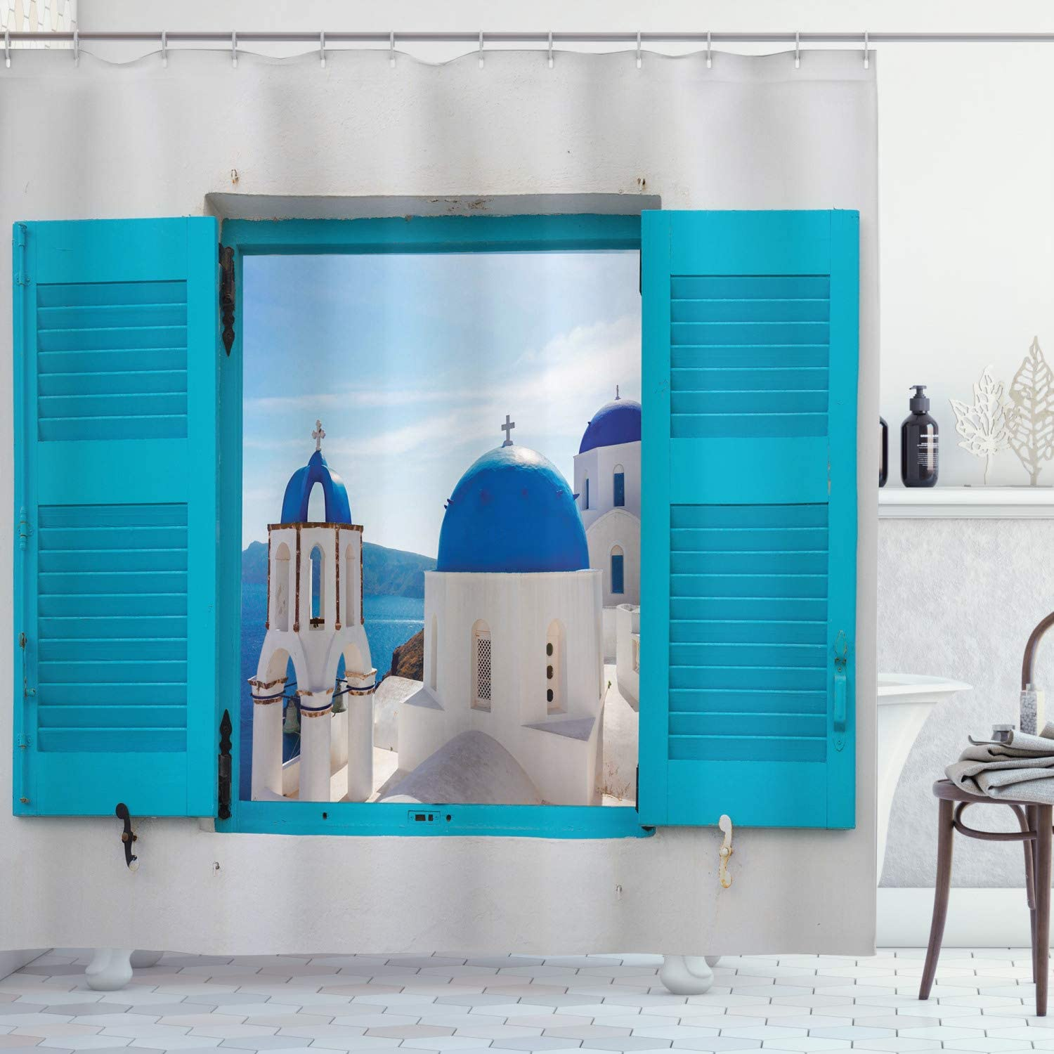 Ambesonne Landscape Shower Curtain, Window with View of Classical Building with Blue Domes Oia Santorini Greece, Cloth Fabric Bathroom Decor Set with Hooks, 70 Inches, Aqua Blue White