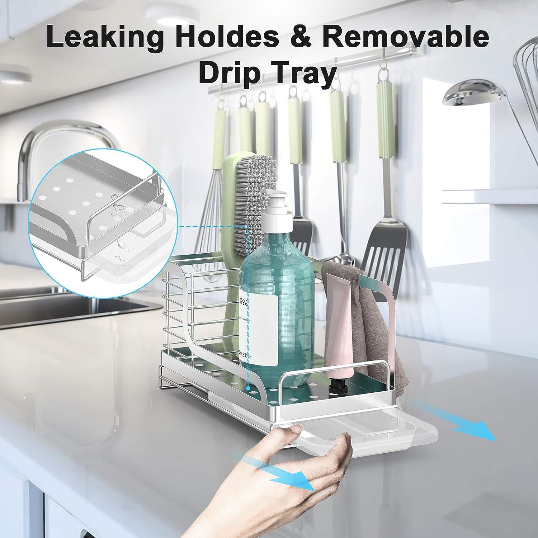 ODesign Kitchen Sink Caddy Organizer Sponge Brush Holder with Drain Pan Tray Dishcloth Rack Countertop Stainless Steel Rustproof