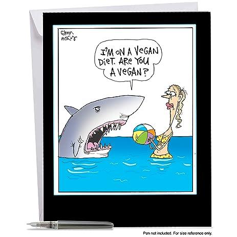Amazon j4002bdg jumbo funny birthday card vegan shark with j4002bdg jumbo funny birthday card vegan shark with envelope extra large version 85 bookmarktalkfo Gallery