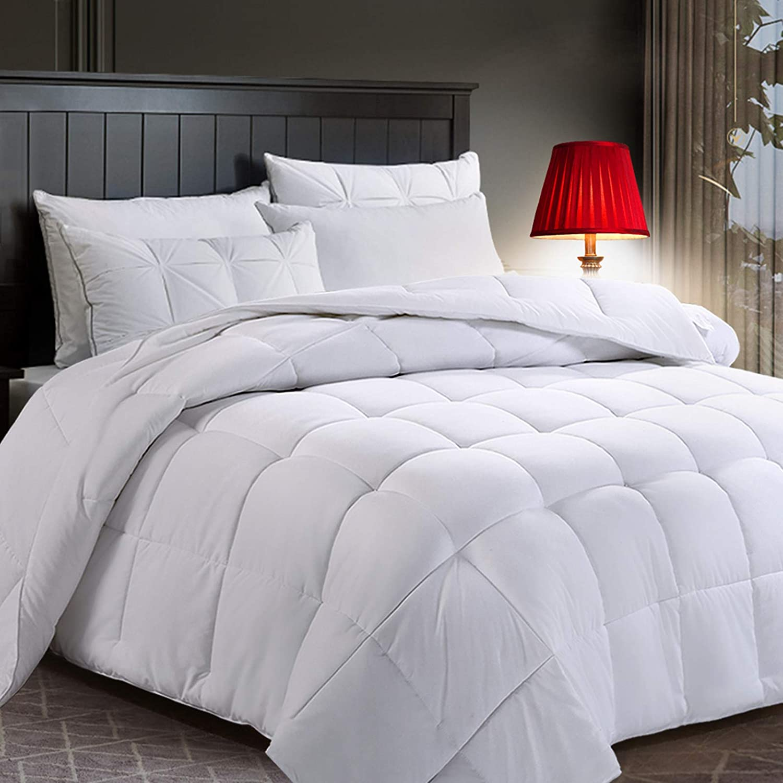 COTTONHOUSE Queen/Full Size (88x88 Lightweight All Season Comforter Reversible Duvet Insert Down Alternative Fill with 8 Corner Tabs - Machine Washable -White
