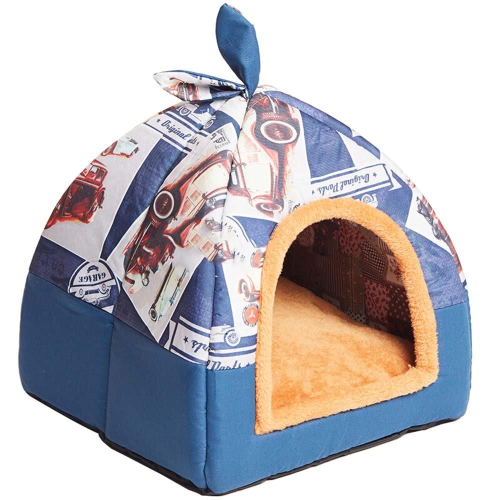 bluee Car S bluee Car S Hanshu 2 in 1 Pet House and Sofa Indoor Soft Warm Washable Igloo Pyramid Cat Dog Beds,(bluee Car, S)
