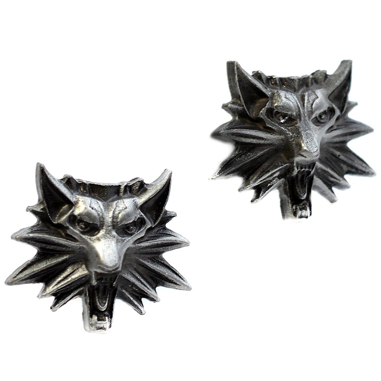 Beaux Bijoux Boutons de manchettes pour homme Motif t/ête de loup du jeu vid/éo The Witcher 3/ Wild Hunt