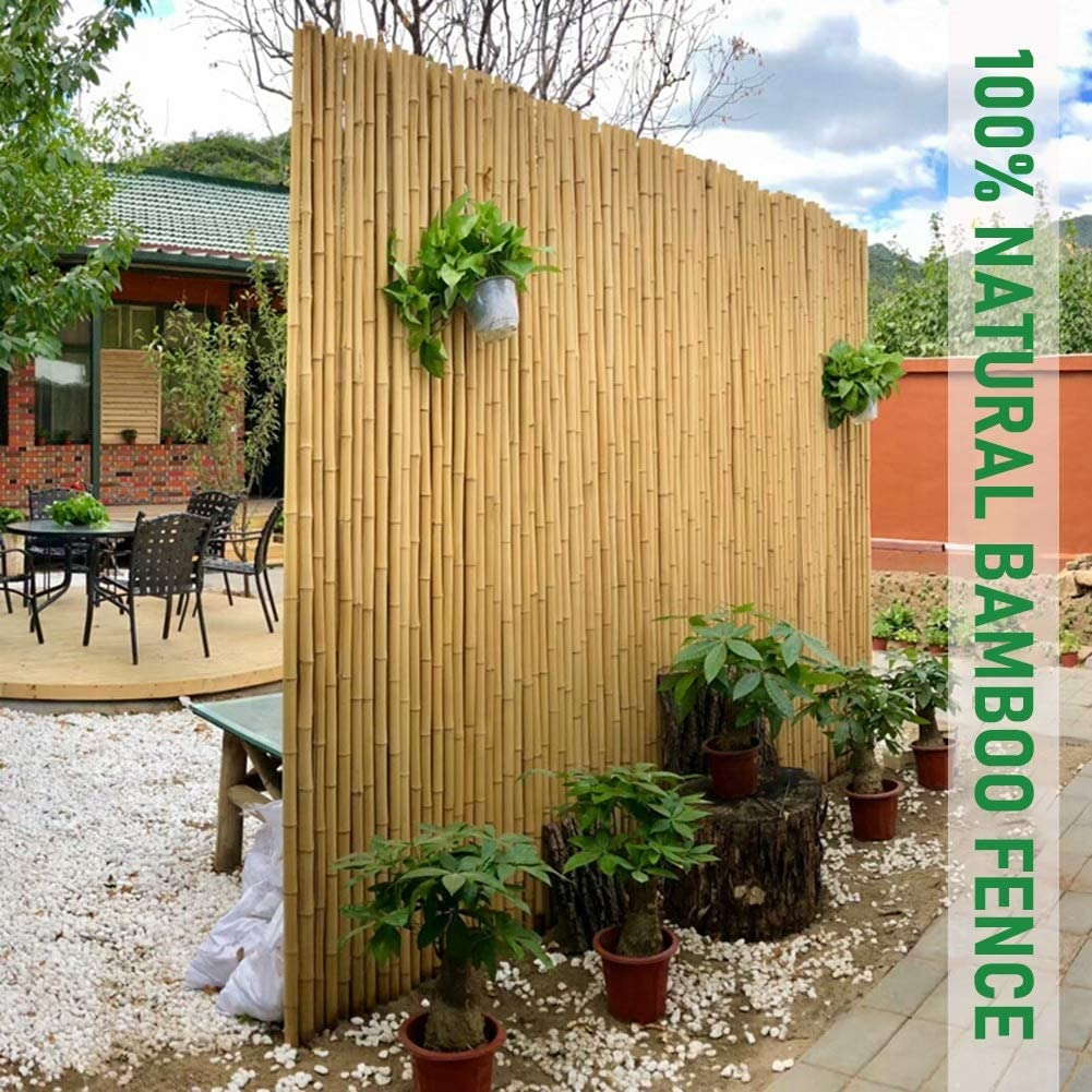 Cerca De Bambú Pantalla De Privacidad Estera Gasa Anti-asomando Natural Grueso Aproximadamente 2.5 Cm De Diámetro Conexión por Medio De Cables Terraza, Patio Interior, Cerca De Jardín (Size : 1x1m): Amazon.es: Hogar