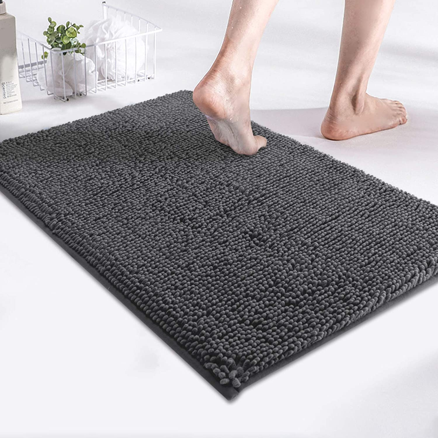 MAYSHINE Luxury Non Slip Chenille Bath Mats for Bathroom Rugs Extra Soft, Absorbent, Shaggy Microfiber, Machine-Washable, Perfect for Door Mat (17x24 Inches, Charcoal Gray)