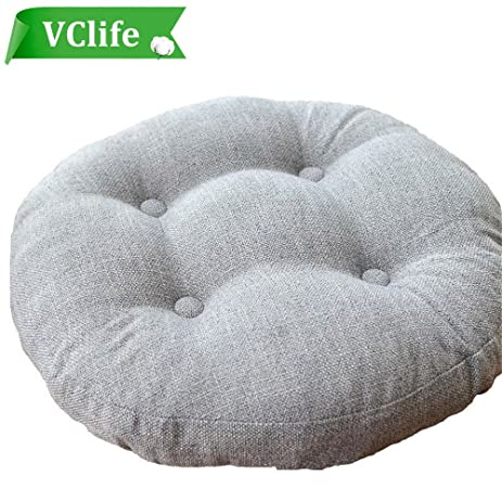 VClife Round Chair Pad Indoor Outdoor Bistro Chair Cushion Decorative Decor  Cotton Linen Floor Pillows For
