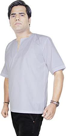 Camisa de algodón indio - manga corta para hombre de la ropa de yoga -tunic corta kurta -tamaño m: Amazon.es: Juguetes y juegos